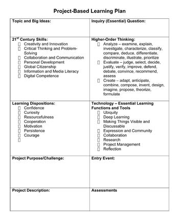 One Teachers Approach To Planning And Documenting A Pbl Project