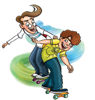 Two kids skateboarding and laughing