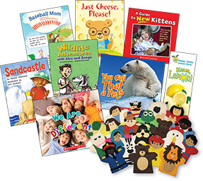 Selection of covers and puppets from Literacy Place Plus, various grades